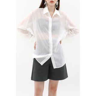 SIMPLY MOOD - Textured See-Through Shirt