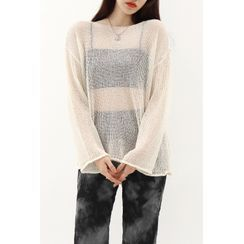 SIMPLY MOOD - Loose-Fit See-Through Knit Top
