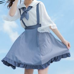 Moriville(モリヴィル) - Sailor Collar Elbow-Sleeve Blouse / Striped Panel Mini A-Line Jumper Skirt