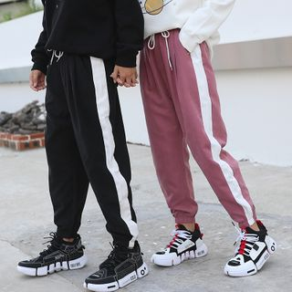 ATee Store - Couple Matching Striped Cropped Harem Pants