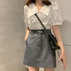 EFO - 泡泡袖皱褶上衣/迷你A字裙