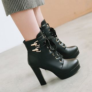 Megan - Faux Leather Double Buckles High Heel Ankle Boots