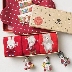 Knit a Bit - 三對一套: 小童聖誕襪子