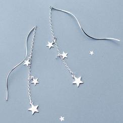 A'ROCH - Pendientes de cadena con espiral y estrella en plata de primera ley