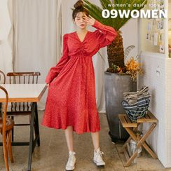 Seoul Fashion - Puff-Sleeve Drawstring Long Floral Dress