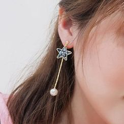 Bmuse - Shell Star Drop Earring