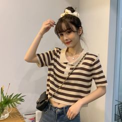 Bodacious! - Short-Sleeve Striped Collared T-Shirt