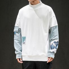 Bay Go Mall - Two-Tone Panel Printed Mock Turtleneck Pullover