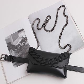 BLOCKHOUSE - 链条仿皮两用腰包