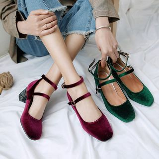 Kireina - Block Heel  Ankle Strap Pumps