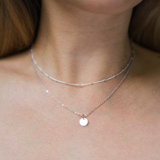 Gemsha - Double-Layered Alloy Necklace with Disc Pendant