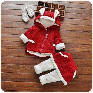 Hecto - Kids Set: Rabbit Ear Fleece-lined Hooded Jacket + Inset Leggings