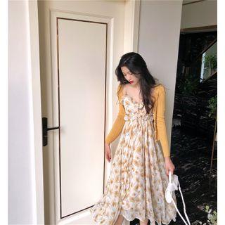 Karnel - Set : Floral Camisole Dress + Knit Coat