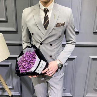 Aamon - Set: Striped Double-Breasted Blazer + Vest + Dress Pants