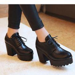 Freesia(フリージア) - Lace-Up Chunky Heel Platform Shoes