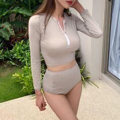 Korsette - Set: Long-Sleeve Half-Zip Rashguard + Bikini Bottom