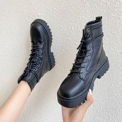 JIP - Lace Up Platform Short Boots