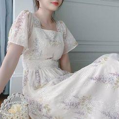 Antoinine - Short-Sleeve Floral Print Lace Midi A-Line Dress