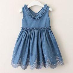 Cuckoo - Kids Sleeveless Embroidered A-Line Denim Dress