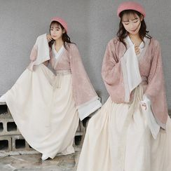 Tangier - Wide-Sleeve Top / Lace Wrap Jacket / A-Line Maxi Skirt / Beret / Set