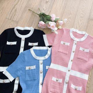 MyFiona - Multi-Pocket Piped Knit Dress