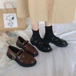 QQ Trend(キューキュートレンド) - Faux Leather Mary Jane Flats