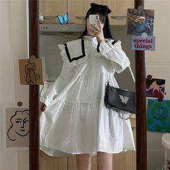 M for Macy - 长袖翻领A字连衣中裙