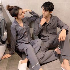 Endormi(エンドーミ) - Couple Matching Pajama Set: Long-Sleeve Top + Pants