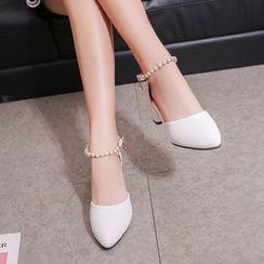 Anjay - Faux Pearl Chunky Heel Sandals