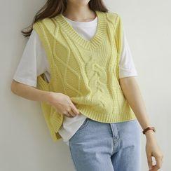 JUSTONE - V-Neck Cable-Knit Vest