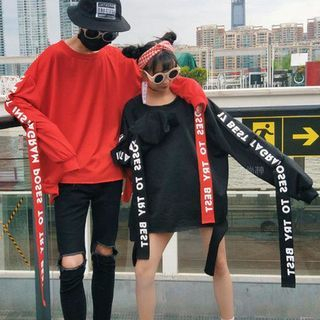 Thetis - Couple Matching Long-Sleeve Letter Strap T-Shirt