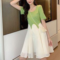 Sofame - 假两件短袖插色连衣裙