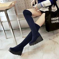 YOUIN - 厚底船跟过膝靴