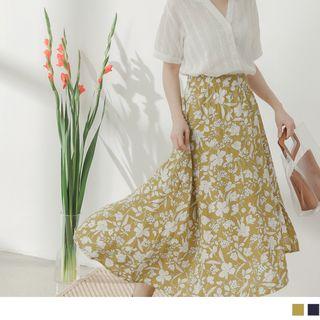 OrangeBear(オレンジベア) - Asymmetric Hem Floral Midi Skirt