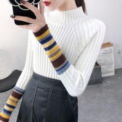 Norte - Mock-Neck Striped Long-Sleeve Knit Top