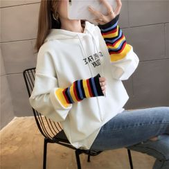 Elbelier - Striped Panel Lettering Hoodie