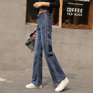 COOLIN - Contrast Trim Cropped Wide-Leg Jeans