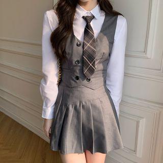 Dute(デュート) - Plain Shirt / Double-Breasted Vest / Pleated Mini Skirt / Plaid Tie