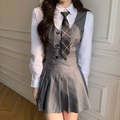 Dute - Plain Shirt / Double-Breasted Vest / Mini Pleated Skirt / Plaid Tie