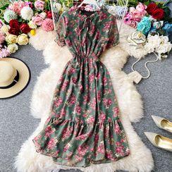 Yearnin - Floral Print Tie-Neck Short-Sleeve Chiffon Dress