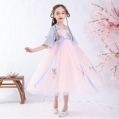 Doveark - 小童七分袖插色刺绣连衣裙