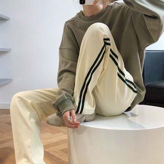 Westdeer - 條紋寬腿運動褲