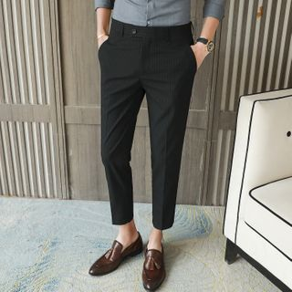 FORSETI - Pinstriped Tapered Cropped Dress Pants