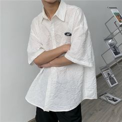 8th Sense - Short-Sleeve Applique Shirred  Shirt