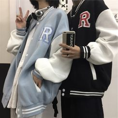 Banash - Letter Embroidered Two-Tone Baseball Jacket