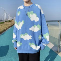 Skeggi - Cloud Print Sweater / Sweater Vest