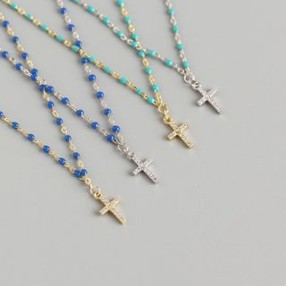 FunnyHow - Rhinestone 925 Sterling Silver Cross Pendant Necklace