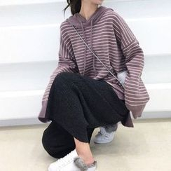 Hiccup - Maternity Striped Knit Hoodie  / Wide Leg Knit Pants / Set