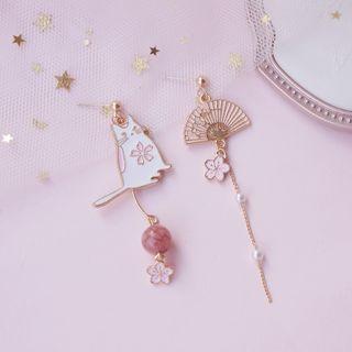Dashiro - Asymmetrical Sakura Drop Earring