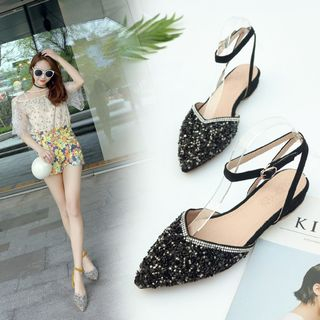 Shoes Galore - Glitter Ankle Strap Flats